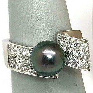 Damiani 18k Gold Black Tahitian Pearl Diamond Ring
